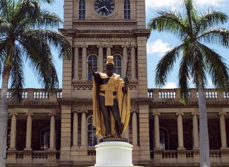 Statue of the King Kamehameha I of Hawaii.  The Kamehameha Statue stands prominently in front of Ali'iolani Hale in Downtown Honolulu, Hawai'i. it was built in 1878 to commemorate the 100 year discovery of Hawai'i by Captain Cook