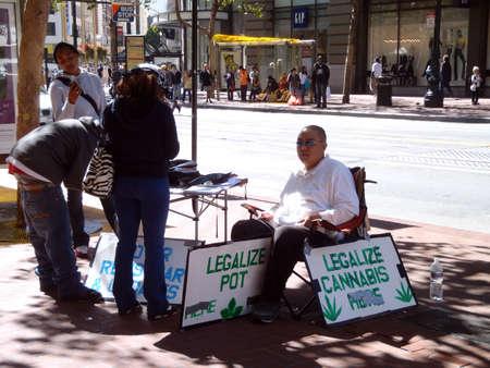 Legalize Pot voter registartion booth on Market street.  September 14, 2010 San Francisco CA.   Editorial