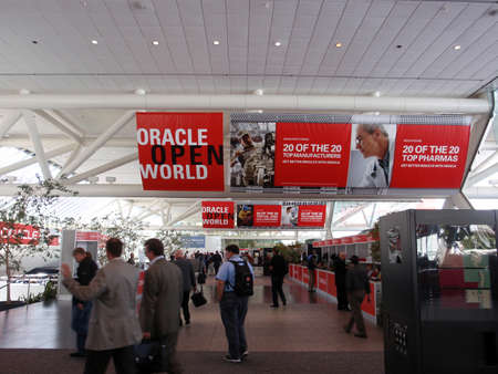 people walking though  Oracle Open World Convention inside the Moscone Center. September 22 Moscone Center San Francisco.