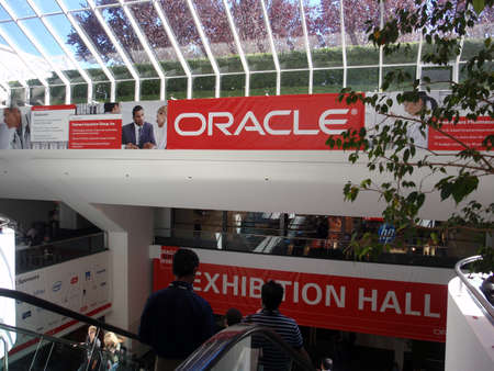 people ride escalator into the Oracle Open World Convention 2010 inside the Moscone Center. September 22 Moscone Center San Francisco. Editorial