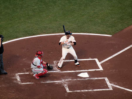 ruiz: SAN FRANCISCO, CA - OCTOBER 20: San Francisco Giants vs. Philadelphia Phillies: Giants Freddy Sanchez stands into the batters box with Carlos Ruiz catching game four of the NLCS 2010 taken October 20, 2010 AT&T Park San Francisco California.