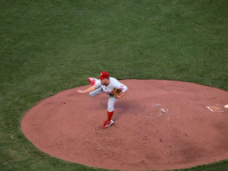 ca he: SAN FRANCISCO, CA - OCTOBER 20: San Francisco Giants vs. Philadelphia Phillies: Phillies Joe Blanton lifts back leg as he finishes throwing a pitch from mound game four of the NLCS 2010 taken October 20, 2010 AT&T Park San Francisco California.  Editorial