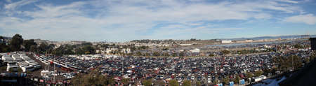 San Francisco 49ers vs New England Patriots: Candlestick Parking lot panoramic before the start of 49ers game as people are entering stadium at Candlestick Stadium San Francisco California Sunday November 14 2010