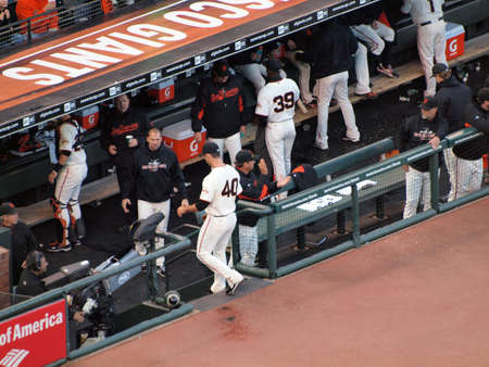 SAN FRANCISCO, CA - OCTOBER 20: Giants Madison Bumgarner steps into the dugout after the end of innings game 4 of the 2010 NLCS game between Giants and Phillies Oct. 20, 2010 AT&T Park San Francisco, CA.