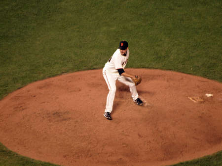 ca he: SAN FRANCISCO, CA - OCTOBER 20: Giants Javier Lopez winds-up to throw pitch as he steps forward game 4 of the 2010 NLCS game between San Francisco Giants and Philadelphia Phillies on Oct. 20, 2010 at AT&T Park in San Francisco, CA.  Editorial