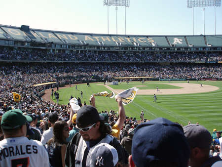 OAKLAND, CA - APRIL 15: Yankees vs As: Oakland As Fans and team celebrate walk off homerun by Marco Scutaro off Mariano Rivera   Taken April 15 2007 at the Coliseum in Oakland California.