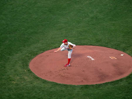 ca he: SAN FRANCISCO, CA - OCTOBER 20: Giants vs. Phillies: Phillies Joe Blanton lifts back leg as he finishes throwing a pitch from mound game 4 of the NLCS 2010 October 20, 2010 AT&T Park San Francisco.