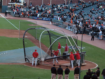 SAN FRANCISCO, CA - OCTOBER 20: Phillies players taking batting practice before game, player in mid-swing, game 4 of the 2010 NLCS game between Giants and Phillies Oct. 20, 2010 AT&T Park San Francisco, CA.