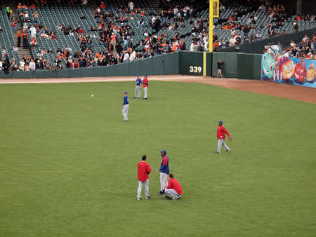 outfield: SAN FRANCISCO, CA - OCTOBER 28: Rangers players in the outfield during batting practice before the start of game 2 of the 2010 World Series game between Giants and Rangers Oct. 28, 2010 AT&T Park San Francisco, CA.