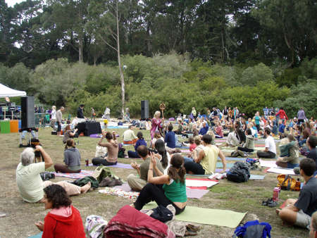 rea: SAN FRANCISCO, CA - SEPTEMBER 11: Shiva Rea uses stick to inspire yogis outdoors with michael franti at Power to the Peaceful 2007 Music Festival.  Taken September 11, 2007 at Golden Gate Park San Francisco. Editorial
