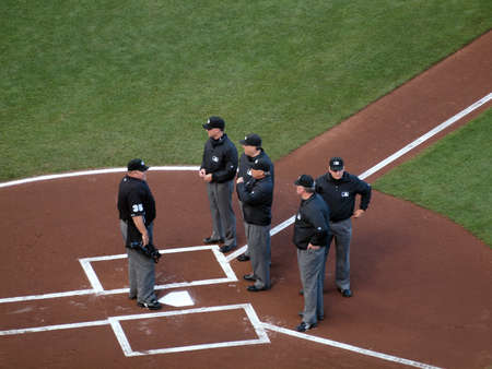 SAN FRANCISCO, CA - OCTOBER 20: head Umpire talk to five other umpires at homeplate before start of game 4 of the 2010 NLCS game between Giants and Phillies Oct. 20, 2010 AT&T Park San Francisco, CA.