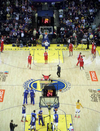 OAKLAND, CA - DECEMBER 25: Portland Blazers vs. Golden State Warriors: Teams warm-up at half time by taking shoots at the basket at the Oracle Arena taken December 25, 2010 Oakland California.