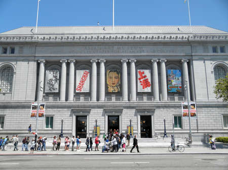 SAN FRANCISCO, CA - JULY 17: Long line on free Museum day to the Asian Art Museum July 17, 2010 San Francisco, CA.