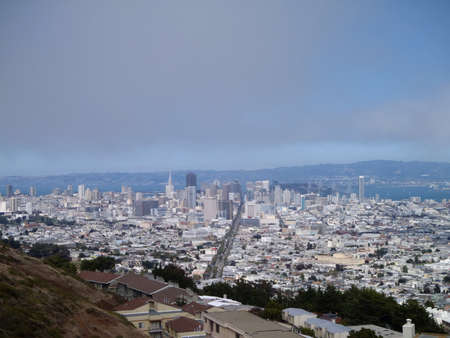 San Francisco Cityscape looking down market street from the side of twin peaks. photo