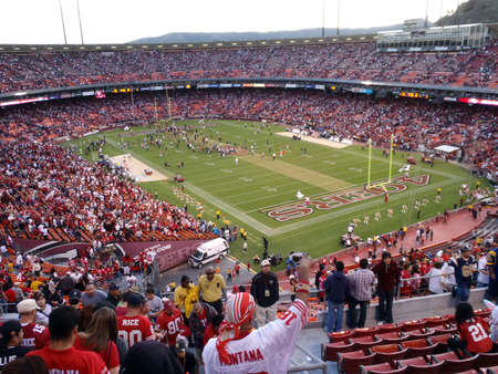 nfl: SAN FRANCISCO, CA - NOVEMBER 14: St.Louis Rams vs. San Francisco 49ers: Fans cheer as 49ers celebrate win on field at Candlestick Stadium San Francisco California Sunday November 14 2010. Editorial
