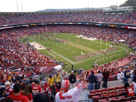 SAN FRANCISCO, CA - NOVEMBER 14: St.Louis Rams vs. San Francisco 49ers: Fans cheer as 49ers celebrate win on field at Candlestick Stadium San Francisco California Sunday November 14 2010. Editoriali