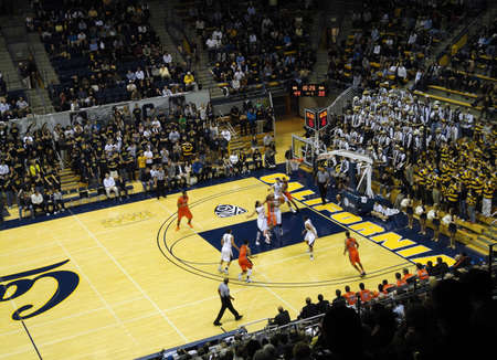 cal: BERKELEY, CA - JANUARY 27: Cal Vs. Oregon State - Oregon State Player Lathen Wallace goes up for lay-up shoot at the Haas Pavilion taken January 27, 2011 Berkeley California.  Editorial