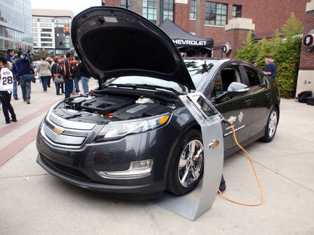 SAN FRANCISCO, CA - OCTOBER 27: Chevy Volt on display at ballpark with hood open to show off electric engine before game 1 of the 2010 World Series game between Giants and Rangers Oct. 27, 2010 AT&T Park San Francisco, CA.