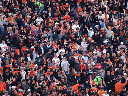 baseball crowd: SAN FRANCISCO, CA - OCTOBER 20: Giants Fans Cheer for players to rally during game 4 of the 2010 NLCS game between Giants and Phillies Oct. 20, 2010 AT&T Park San Francisco, CA.