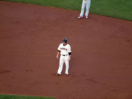 ca he: SAN FRANCISCO, CA - OCTOBER 20: Giants Freddy Sanchez standing as he takes lead from second base game 4 of the 2010 NLCS game between Giants and Phillies Oct. 20, 2010 AT&T Park San Francisco, CA.