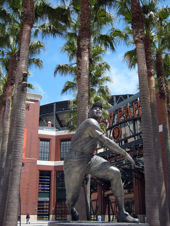 SAN FRANCISCO - AUGUST 9: Willie Mays Statue in front of AT&T Park August 9 2010 Att Park San Francisco California.