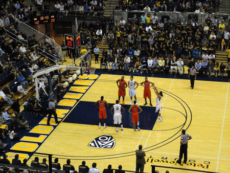 cal: BERKELEY, CA - JANUARY 27: Cal Vs. Oregon State - CAL Jorge Gutierrez take free throw shoot at the Haas Pavilion taken January 27, 2011 Berkeley California.