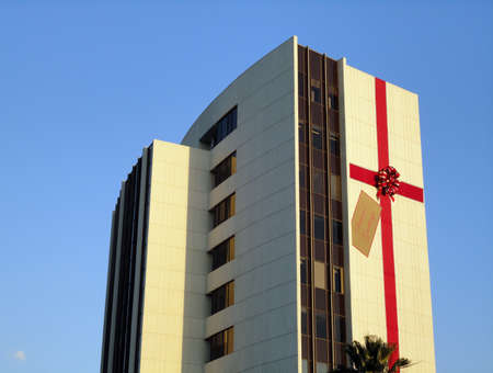 LOS ANGELES, NOVEMBER 24: LA building wrapped as a present saying