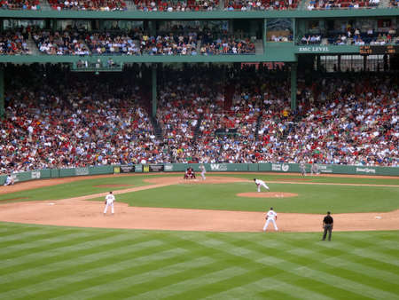BOSTON - JUNE 2: Red Sox vs Athletics: Oakland Athletic Mark Ellis looks at incoming pitch. taken from the bleachers June 2, 2010 Fenway Park Boston, Massachusetts.