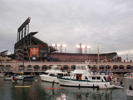 SAN FRANCISCO, CA - OCTOBER 27: McCovey Cove filled with boats and people during game 1 of the 2010 World Series game between Giants and Rangers Oct. 27, 2010 AT&T Park San Francisco, CA.