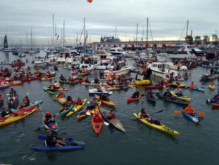 homerun: SAN FRANCISCO, CA - OCTOBER 27: McCovey Cove filled with boats, kayaks and people hoping for a homerun ball during game 1 of the 2010 World Series Oct. 27, 2010 AT&T Park San Francisco, CA.