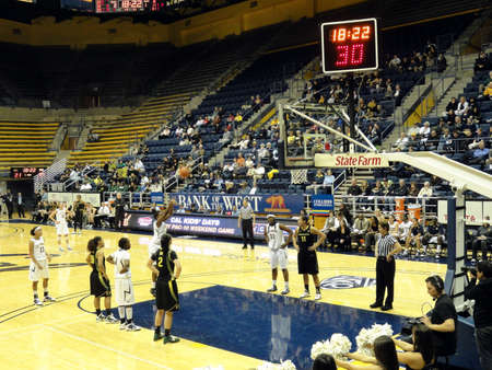 cal: BERKELEY, CA - FEBUARY 24: Cal Vs. Oregon  - CAL player takes free throw shot at the Haas Pavilion taken Febuary 24, 2011 Berkeley California.  Editorial