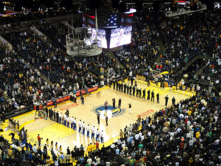 anthem: OAKLAND, CA - FEBRUARY 22: Celtics vs. Warriors: Players stand in lines during the singing of the National Anthem at Oracle Arena taken February 22, 2011 Oakland California.