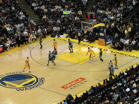 OAKLAND, CA - FEBRUARY 22: Celtics vs. Warriors: Warriors Dorell Wright 3 point shot with Paul Piece trying to block shot at Oracle Arena taken February 22, 2011 Oakland California.