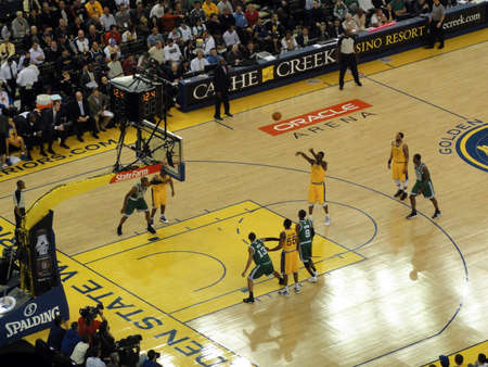 OAKLAND, CA - FEBRUARY 22: Celtics vs. Warriors: Warriors Dorell Wright take free throw shoot with players lived up at Oracle Arena taken February 22, 2011 Oakland California.