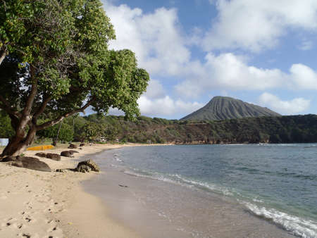 Hanamau Bay Beach with Kokohead in the distance on Oahu Hawaii photo