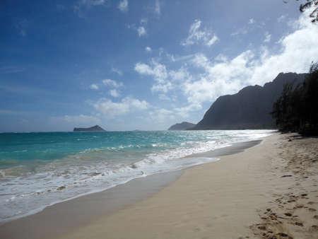Waimanalo Beach on Oahu, Hawaii. With  rabbit island seen in the distance