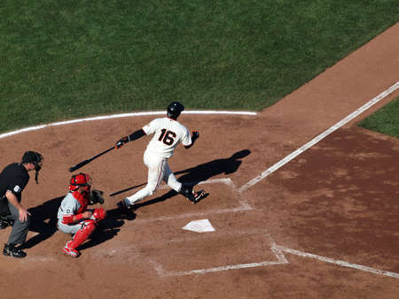 SAN FRANCISCO, CA - OCTOBER 19: Giants batter Edgar Renteria swing and misses pitch, game three of the NLCS 2010 on October 19, 2010 at AT&T Park San Francisco.