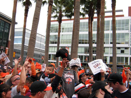 SAN FRANCISCO - OCTOBER 2: Giants Fans go crazy for Cameras outside ballpark after winning the NL West Division. October 3 2010 Att Park San Francisco California.  Stock Photo - 10403981