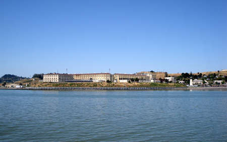 San Quentin State Prison California in the distance, taken in the water from a passing ferry. Stock Photo - 10753858