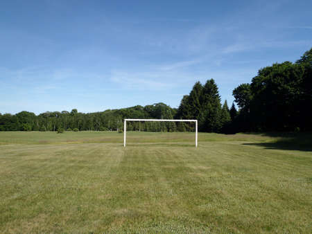 goal keeper: Soccer Goal in a grass field in Maine Stock Photo