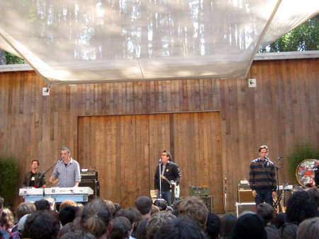 SAN FRANCISCO - AUGUST 22: 73rd Stern Grove Festival: They Might Be Giants singing into mics on stage at am outdoor concert August 22 2010 San Francisco CA.