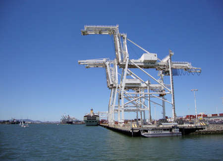 boat lift: Cargo Cranes in Oakland Harbor on a nice day.