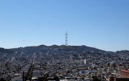 Mission Distict and Twin Peaks in San Francisco, California viewed from Potrero Hill photo
