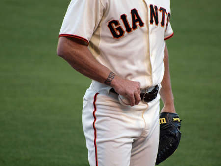 Giants Vs. Marlins: Close-up of Giants Brian Wilson hand holding a baseball and mid section as he warms-up to close.  July 28  2010 Att Park San Francisco California