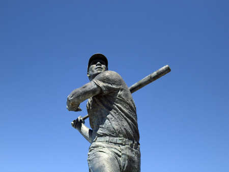 Close-up of Statue of baseball legend Willie McCovey in San Francisco, California  on a clear day.