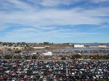 SAN FRANCISCO, CA - NOVEMBER 14:  Candlestick Parking lot before the start of 49ers game as people are entering stadium at Candlestick Stadium on Sunday November 14 2010 in San Francisco California. Publikacyjne