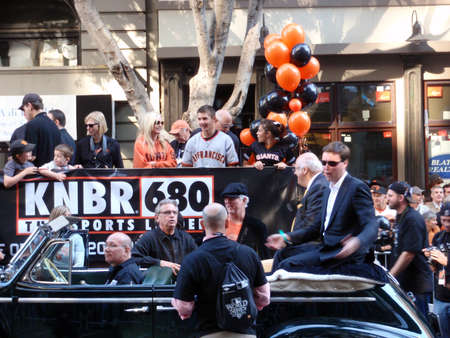 SAN FRANCISCO - NOVEMBER 3: KNBR Crew on Open Car before start of World Series Win Celebration Parade taken on October 10, 2010 in San Francisco.