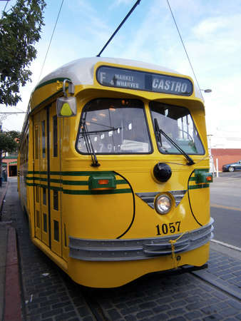 SAN FRANCISCO, CA - OCTOBER 24: Parked Yellow historic streetcar of the F-Line MUNI Train on October 24, 2011 in Park San Francisco.