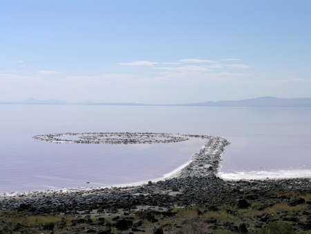 Spiral Jetty inner circles view of Spiral Jetty in 2005, Robert Smithson