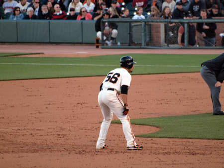 SAN FRANCISCO, CA - JULY 28: Giants Andres Torres takes lead from second base at ATT Park on July 24 2010 in San Francisco.